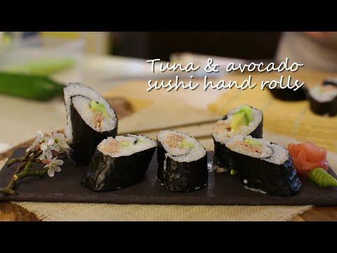 Tuna and avocado sushi hand rolls