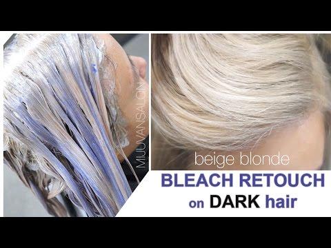 Beige Blonde Bleach Retouch on DARK Hair without getting ORANGE or PURPLE.