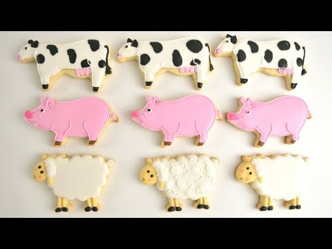 COW~SHEEP~PIG FARM ANIMAL COOKIES by HANIELA'S