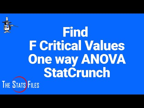 Find Critical Values F-distribution - One way Single Factor ANOVA  StatCrunch