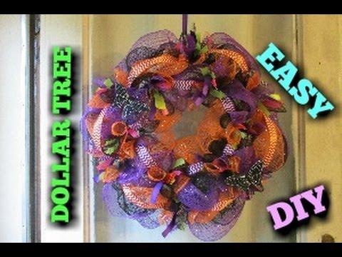 DECO MESH WREATH TUTORIAL ~DOLLAR TREE~ HALLOWEEN INSPIRED
