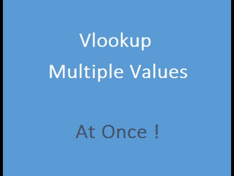 Vlookup Multiple Values in Excel