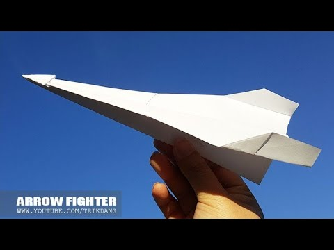 EASY PAPER AIRPLANE - How to make a LONG DISTANCE Paper plane | Arrow Fighter