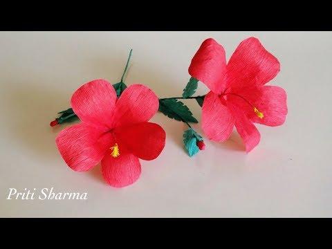 DIY: How To Make Hibiscus Crepe Paper Flower Tutorial / Shoeflower tutorial   Priti Sharma