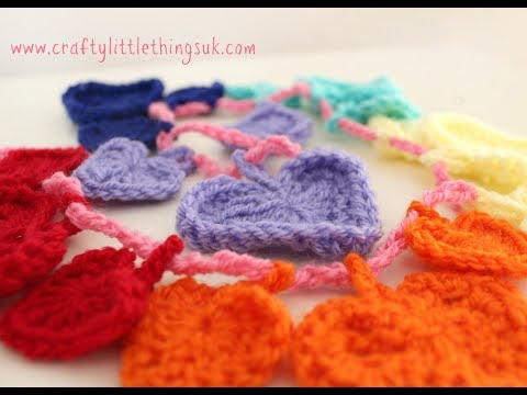 Crochet Tutorial - Rainbow Heart Bunting