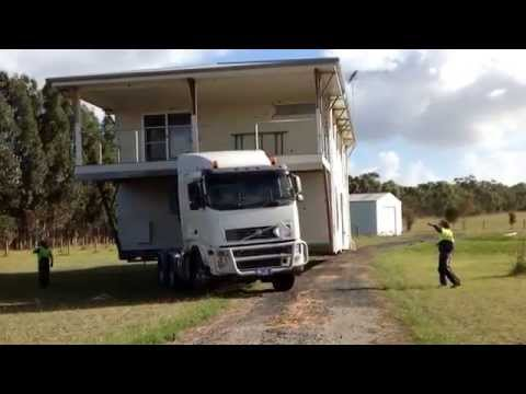 2story house on truck going down the road. Australia, victoria, corinella. Pkhouseremovers@gmail.com