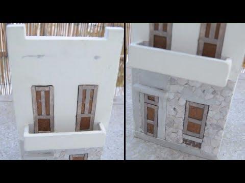 DIY Handmade Casted Wall Miniature Stone House