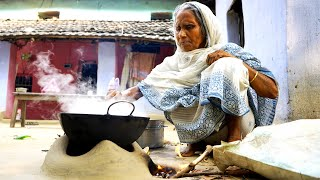 The moment of when our Grandma Cooking her favorite Khuder Vat in Village Style | villfood vlog