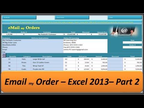 Excel VBA - Email my Order - Excel 2013 - Part 2
