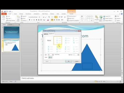 Microsoft PowerPoint How to Add Numbering and Format Numbering Bullets