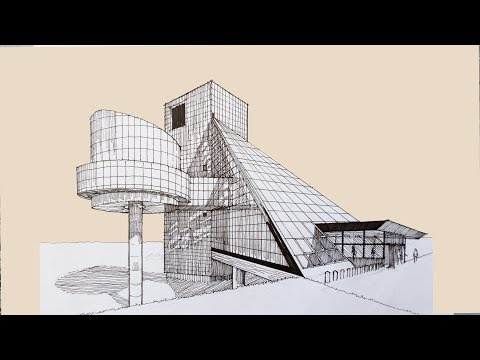 Architecture Sketch #007 Cleveland Rock and Roll Hall of Fame designed by I. M. Pei