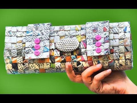 DIY Newspaper Crafts: How to Make Newspaper Handbag   Newspaper Purse   Best Out of Waste