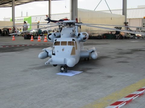 Giant scale MH53 Pave Low R/C Model Helicopter roll Start uncut flight
