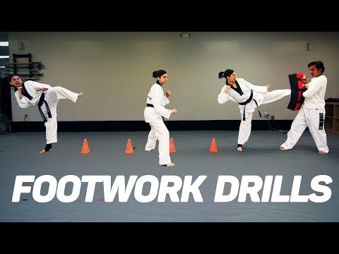 Taekwondo Footwork & Kicking Drills (using cones)