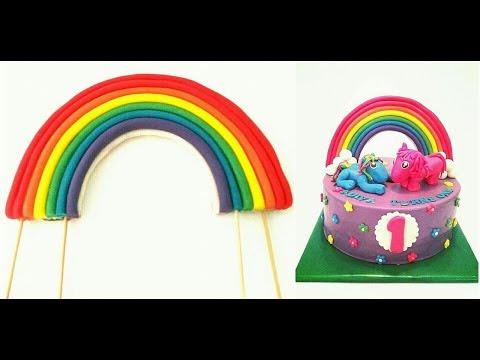 Rainbow with Fondant. My little Pony cake Rainbow topper. Reusable Rainbow topper with Fondant