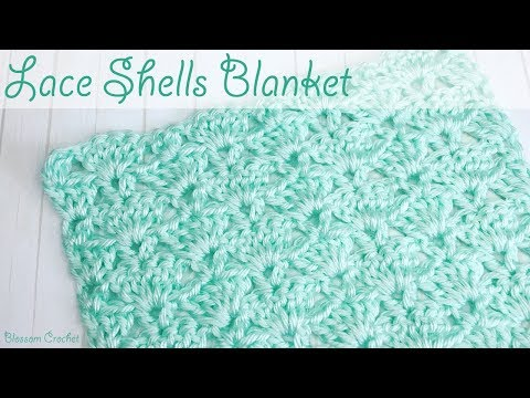 Beautiful Lace Shell Crochet Baby Blanket / Scarf