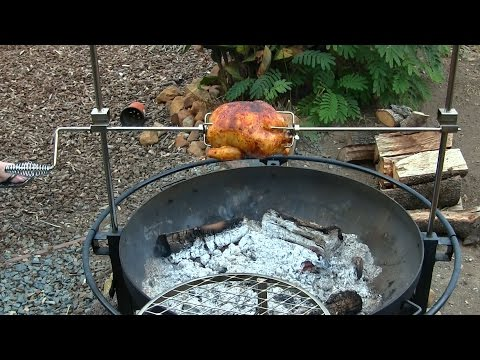 Rotisserie Chicken Cookout on the Outdoor Fire Pit