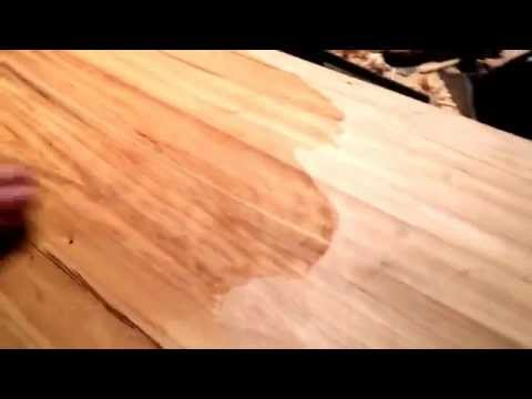 Putting butcher block oil on the island countertop I made.
