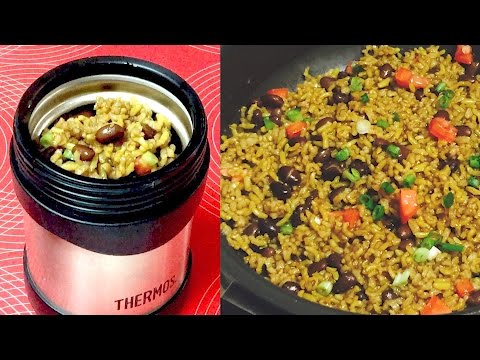 Hot Lunch Box Black Beans and Brown Rice Video Recipe | Bhavna's Kitchen