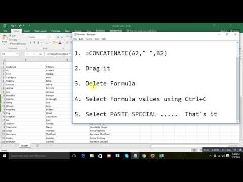 How to merge two cells in excel and paste without formula
