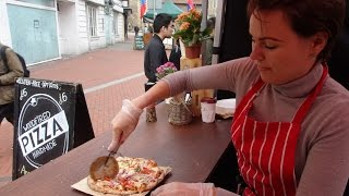 Delicious Italian Street Food by Woodfired Pizza Handmade on a mobile cycle oven in Reading Market