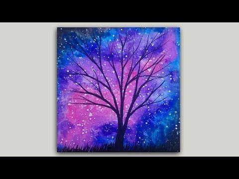 Watercolor Painting Rose Galaxy and Tree Silhouette