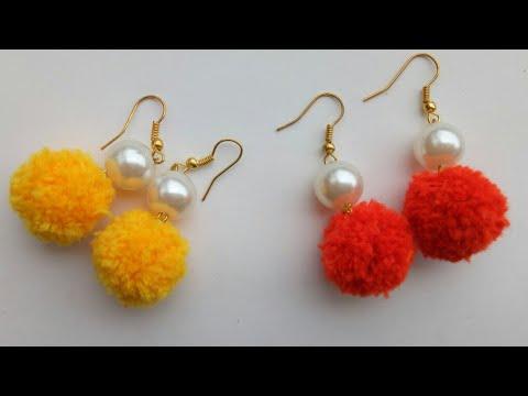 DIY/Pom pom earrings/Pom pom dangle earrings/making pompom with pearl earring/Earrings/pom poms