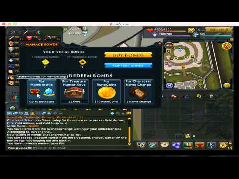 Runescape tutorial on how to use bonds for membership 2014