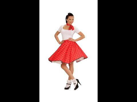 01077 - RED 50s POLKA DOTS SKIRT & NECK SCARF