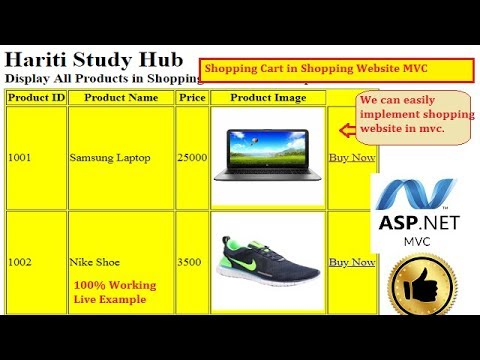 Part 1- Implement Shopping Cart Using Asp.Net MVC   Hindi   Shopping Website   Free Online Classes
