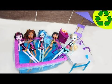 Make a Doll Swimming Pool with a Deck - Doll Crafts - simplekidscrafts