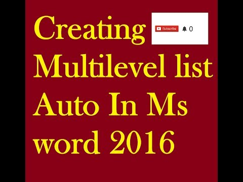 How to create A Multilevel list auto in Ms Word 2016 2013 Tutorial for Beginner in Hindi Urdu