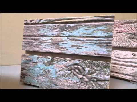 3D Textured Designer Slatwall Panels - Old Painted Wood - Cracked Concrete - Sawtooth Oak