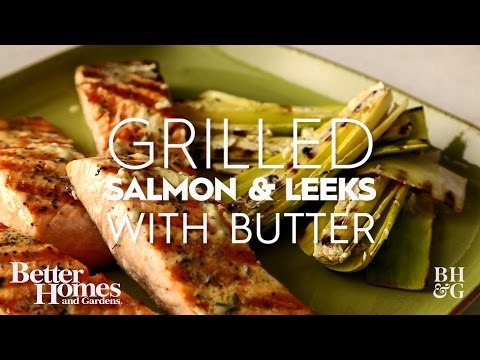 Grilled Salmon & Leeks with Butter