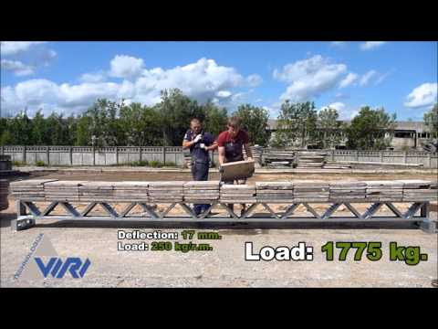 Two combined flat trusses maximum load experiment in a real conditions by VIRI TECHNOLOGIJA