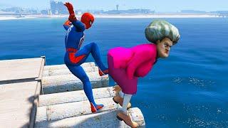 GTA 5 Ragdolls   Scary Teacher vs Spiderman Jumps/Fails - Funny Moments