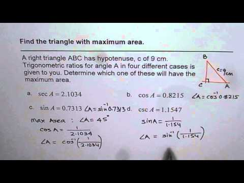 Maximum Area of Right Triangle with Given Hypotenuse