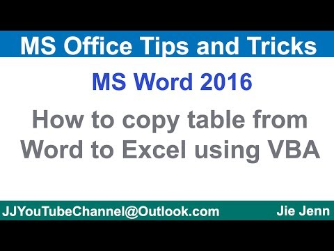 How to Copy Table From Word to Excel using VBA (MS Word VBA Tutorial)
