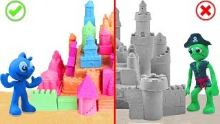 TINY BUILDING SAND CASTLE ON THE BEACH 💖 CLAY MIXER Stop Motion Cartoons