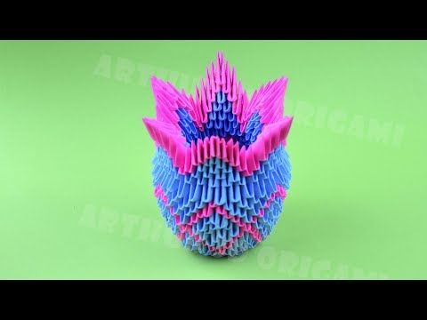 Origami vase from pieces of paper ♡ DIY How to make an origami vase 3D