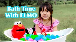 Learn Colors For kids Children Toddlers - Bath Time With Elmo Minnie  and Po