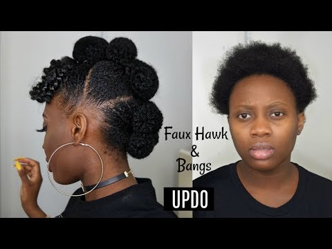 Easy Protective style   Faux hawk Updo with afro bangs on Short Natural Hair Tutorial