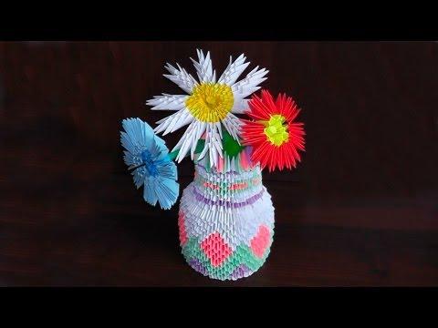 3D origami vase tutorial (instruction)