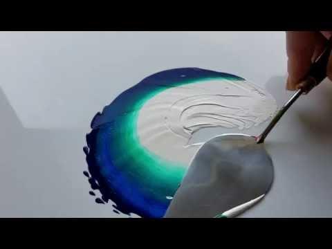 MIXING PAINTS: Planet Earth , pthalo green, pthalo blue, white acrylic