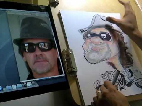 Caricature Drawing of Motorcyclist  #6