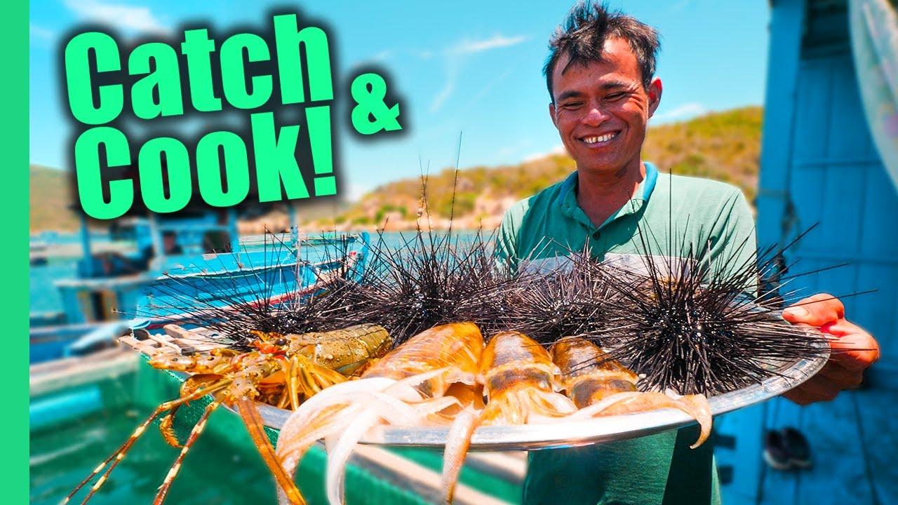 Vietnam's Aquaman!! SPIKY Sea Urchin and Seafood FEAST!!   Surviving Vietnam Part 7