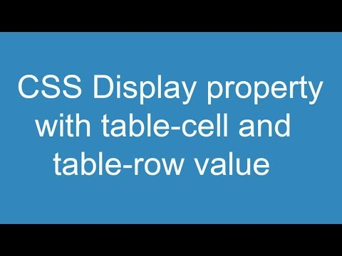 CSS Display property with table-cell and table-row value