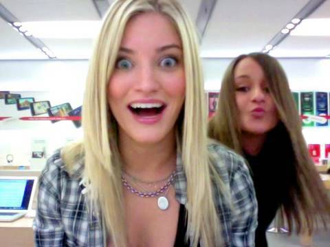 DANCING CHICKS MONTAGE AT THE APPLE STORE!! | iJustine