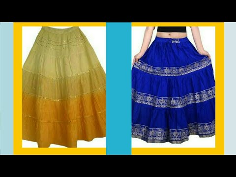 How to Ruffle skirt cutting and stitching..... recycle from saree