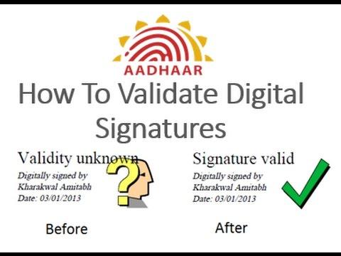 HOW TO VALIDATE DIGITAL SIGNATURE ON AADHAR CARD।आधार कार्ड के डिजिटल सिग्नेचर को कैसे वेलिडेट करे।